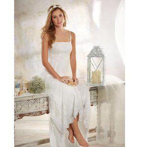 Modern Vintage Hi Lo Lace Wedding Dress Boho